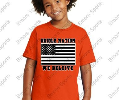 Orioles Nation We Believe Orange Kids Tshirt