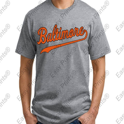Baltimore Baseball Script Gray Orioles T-Shirt