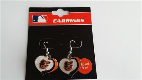 Baltimore Orioles MLB Silver Glitter Heart Dangle Earrings