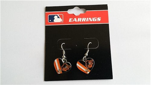 Baltimore Orioles MLB Heart Flag with Rhinestone Silver Dangle Earrings