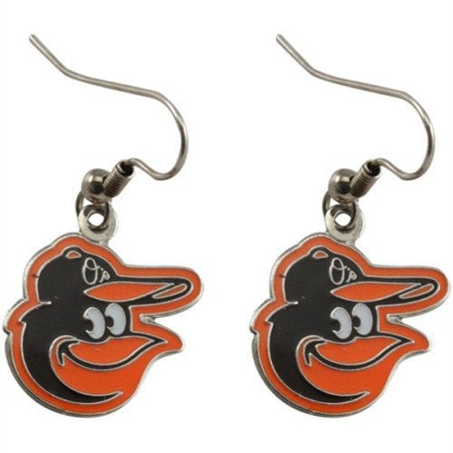 Baltimore Orioles Bird MLB Silver Dangle Earrings