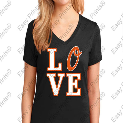 Orioles Love Black Ladies V T-Shirt