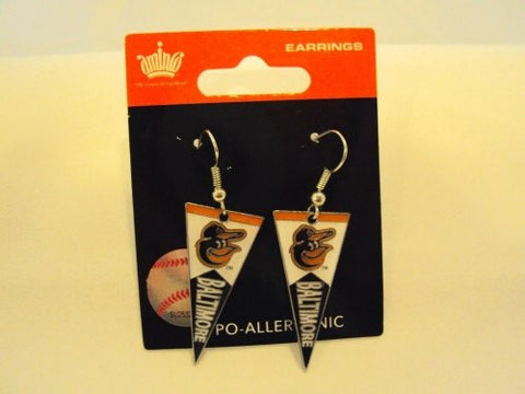 Baltimore Orioles MLB Team Pennant Silver Dangle Earrings