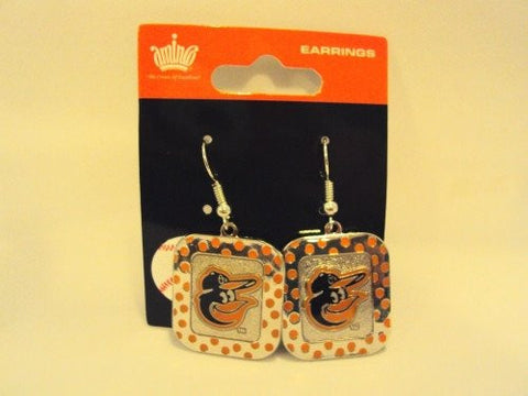 Baltimore Orioles MLB Polka Dots Silver Dangle Earrings