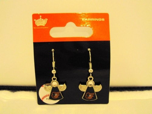Baltimore Orioles MLB Silver Winged Guardian Angel Dangle Earrings