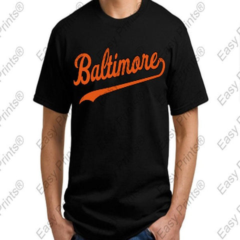 Baltimore Baseball Script Black Orioles T-Shirt