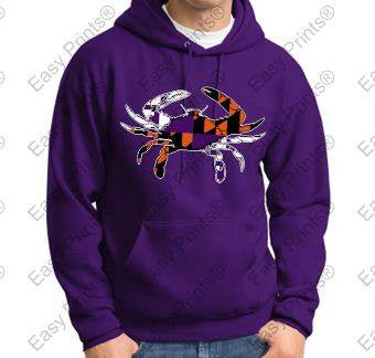 Baltimore Crab Ravens And Orioles Colors Purple Hoody