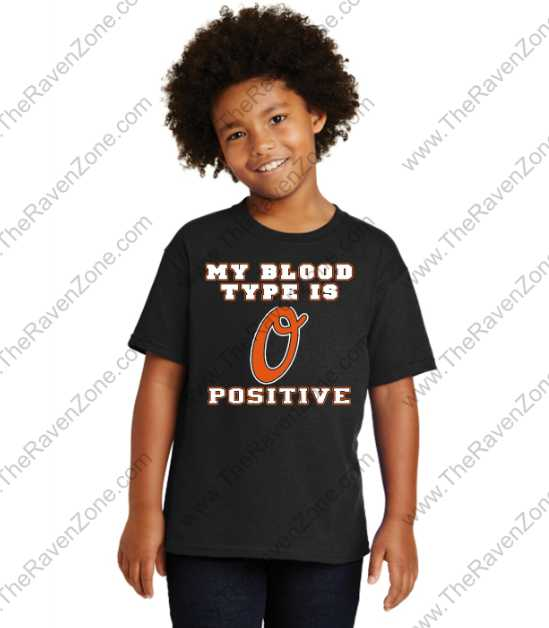 Baltimore My Blood Type is O Positive Orioles Kids T-shirts