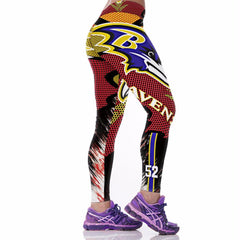 Ravens 3D Print High Waist Yoga Ladies Leggings