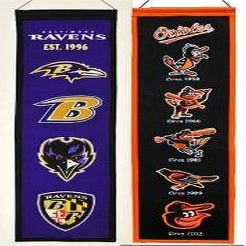 Baltimore Ravens and Baltimore Orioles Heritage Flag Banners Fan Combo Set