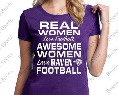 Real Women Love Football Ravens Ladies Round Tshirt
