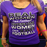 Real Women Love Football Ravens Ladies V T-Shirt