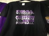Real Women Love Football Awesome Women Love The Ravens Glitter Ladies V Tshirt