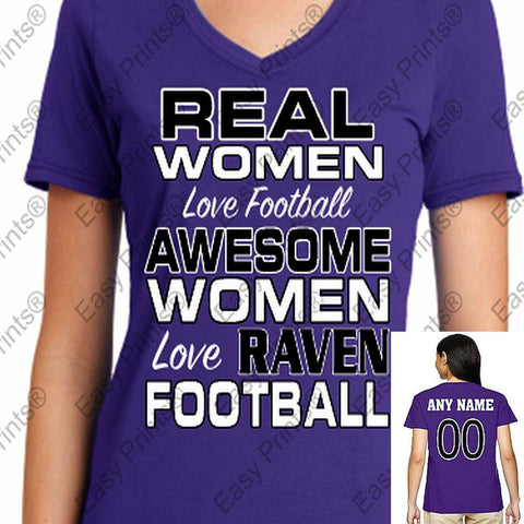 Custom Real Women Love Football Ravens Ladies V T-Shirt