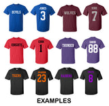 Custom T-Shirt Jersey Personalized Any Name Number Team Softball Football Soccer