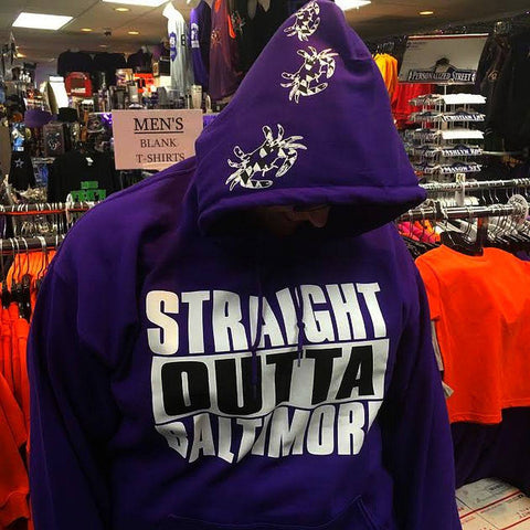 Straight Outta Baltimore Maryland Crab Hooded Sweatshirt Many Colors