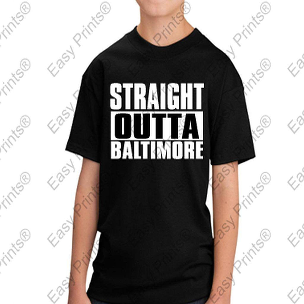 Custom Kids Straight Outta Baltimore Maryland Black Tshirt