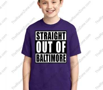 Straight Out Of Baltimore Kids Purple Tshirt