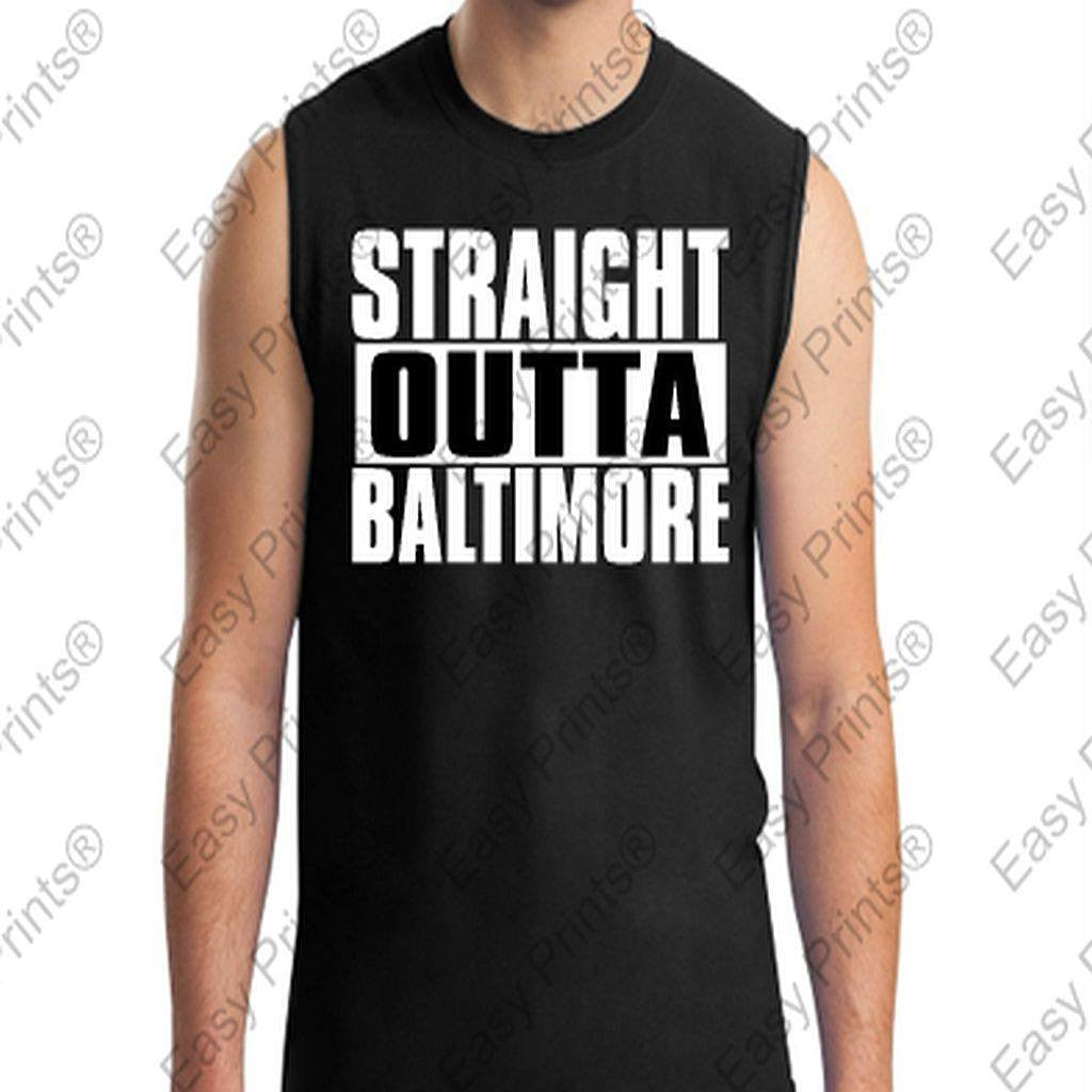Straight Outta Baltimore Maryland Black Sleevless T-Shirt