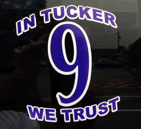 In Tucker We Trust 9 Car Window Decal