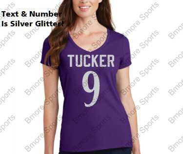 0f6e5b9f Baltimore Ravens Tucker 9 Glitter Bling Ladies Tshirt