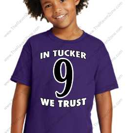 In Tucker We Trust Ravens Purple Kids Tshirt