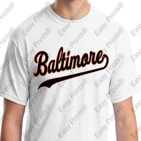 Custom Baltimore Baseball Script White Orioles T-Shirt