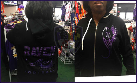 Raven Football Purple Glitter Ladies Full-Zip Hooded Sweatshirt