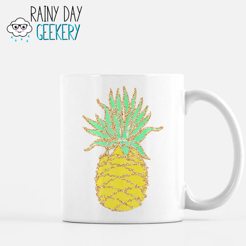 Glitter Pineapple - 11 oz White Mug