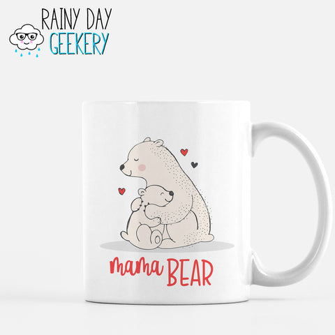 Mama Bear - adorable hugging polar bears - 11 oz White Mug