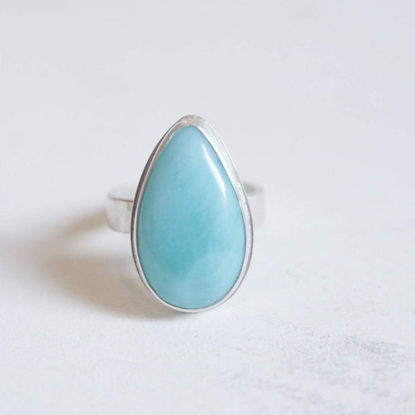Yvonne Dao Atlantis Hammered Larimar Ring
