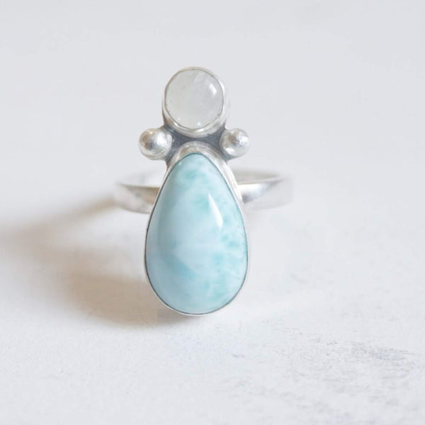 Yvonne Dao Atlantis Larimar and Rainbow Moonstone Ring