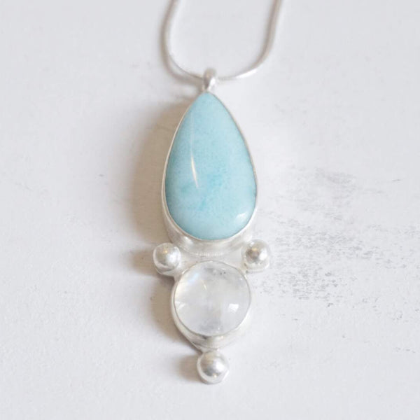 Yvonne Dao Atlantis Larimar and Rainbow Moonstone Statement Necklace