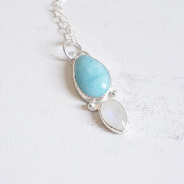 Yvonne Dao Atlantis Larimar and Rainbow Moonstone Duality Necklace