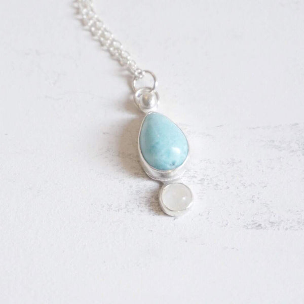 Yvonne Dao Atlantis Larimar and Rainbow Moonstone Balance Necklace