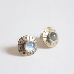 Flying Saucer Silver & Brass Stud Earrings
