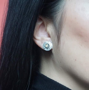 Yvonne Dao Flying Saucer Labradorite Stud Earrings on Model
