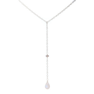 Rainbow Moonstone Lotus Petal Y Necklace (Sterling Silver)