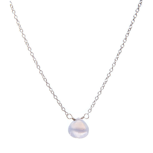 Blue Lace Agate Lotus Petal Necklace (Sterling Silver)