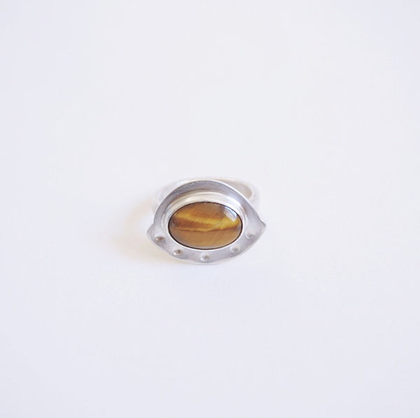 Tiger's Eye UFO Ring Sz 7.25