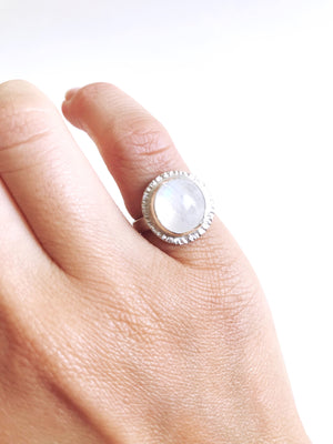 Rainbow Moonstone Nebula Ring