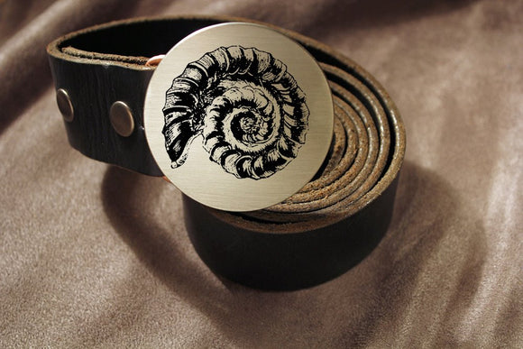 Ammonite Fossil Belt Buckle-Metal Some Art