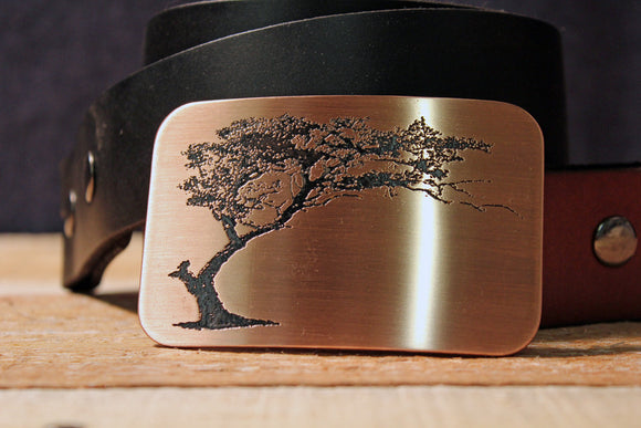 Bonsai Silhouette Belt Buckle-Metal Some Art