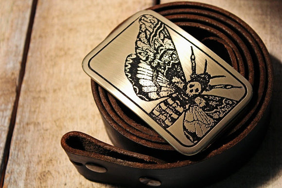Death's Head Hawk Moth Belt Buckle-Metal Some Art