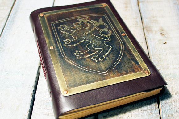 Custom Made DESIGN YOUR OWN Leather Bound Journal-Metal Some Art