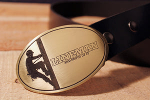 Lineman LINEWORKER Belt Buckle-Metal Some Art