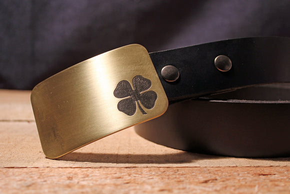 Four Leaf Clover Belt Buckle-Metal Some Art