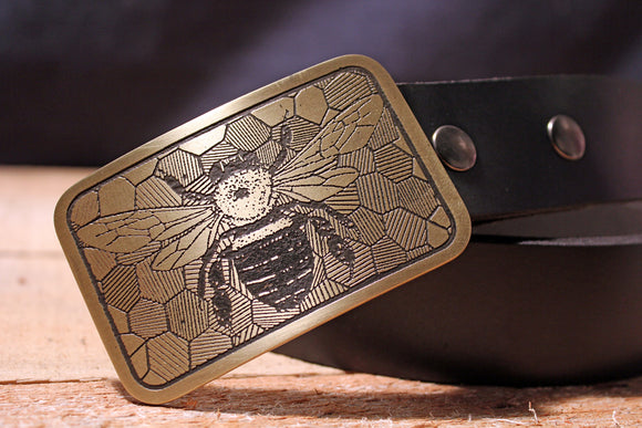 Bee and Honey Comb Belt Buckle-Metal Some Art