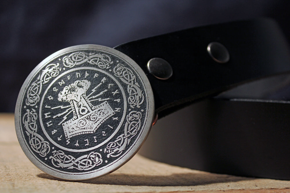 Scandinavian Old Norse Viking Mjolnir belt buckle on leather strap Leather belt with buckle Thor Hammer