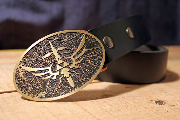 Zelda Belt Buckle RUSTIC  - MasterSword & Hylian Shield